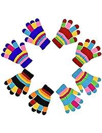 Striped Gloves for Kids - Set of 4