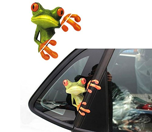 MOKRIL Exterior Waterproof Vinyl Funny Car Stickers Decals ~ Family, Scary Eyes Peeking Monster Voyeur, Bear Paw Prints, Devil Angel Sexy Girls, Peep Frog, Skull, Smiley Faces, Panda (from U.S)