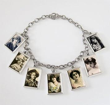 Amazon.com: Mini Dangling 7 Frame Photo Charm Bracelet Kit Double ...