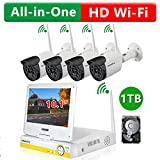 ONWOTE True Plug n Play All-in-One HD Wireless WiFi Security Camera System with 10.1