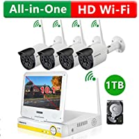 ONWOTE Plug n Play All-in-One 1080P HD NVR Wireless WiFi Security Camera System with 10.1 LCD Monitor, 1TB Hard Drive and 4 Outdoor Night Vision IP Surveillance Camera (Built-in Router, Auto-Pair)