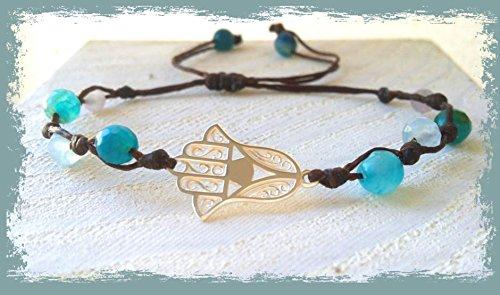 Pulsera mano de Fatima de plata y cristal celeste, de mujer, hecha a mano, handmade, brazalete