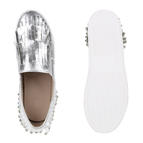 623a073cb5806b ... Stiefelparadies Damen Sneakers Metallic Glitzer Schuhe Pailletten Sneaker  Slip Ons Slipper Fransen Schleifen Flats Ethno Prints