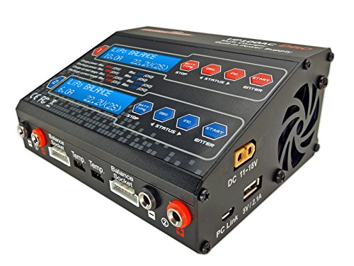 UP100AC Duo Dual 2 Port (CH1 10Amps, CH2 6Amps, 100Watts Total): LiPo, LiIon, LiFe, NiCd, NiMh, Pb AC/DC Balancing Battery Multi-Chemistry Multicharger w/ 120Watt Power Supply, USB Charge Port (5V 2.1A) for Cell (Prodigy Duo)