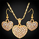 GDSTAR 18K Real Gold Plated Hearts Pendant Necklace Earrings Jewelry Set Austrian Rhinestone Jewelry Set Gift For Women