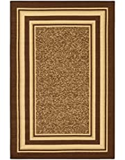"Ottomanson Ottohome Collection Color Contemporary Bordered Design Area Rug with Non-Skid (Non-Slip) Rubber Backing, Brown, 3'3"" x 5'0"""