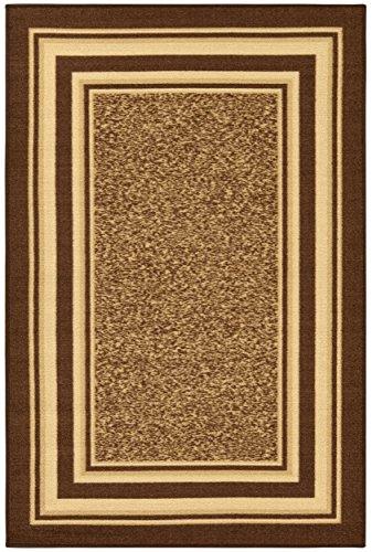 Ottomanson Ottohome Collection Color Contemporary Bordered Design Area Rug with Non-Skid (Non-Slip) Rubber Backing, 5'0