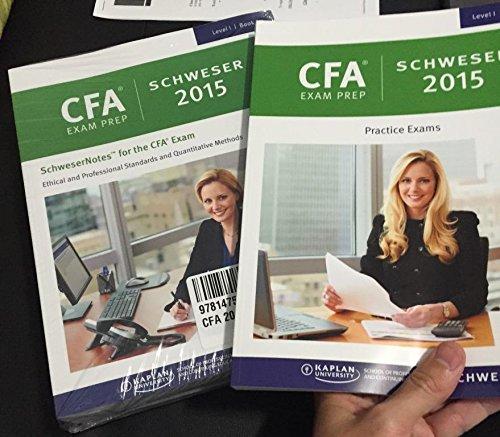CFA Kaplan 2015 Level I, 5 Book, 1 Quicksheet, 3 Practice Exams