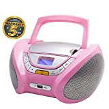 Lauson Cd-Player | Boombox Stereo | Portable Radio CD Player with USB | Usb & MP3 Player | Headphone Jack (3.5mm) | CP748 (Pink)