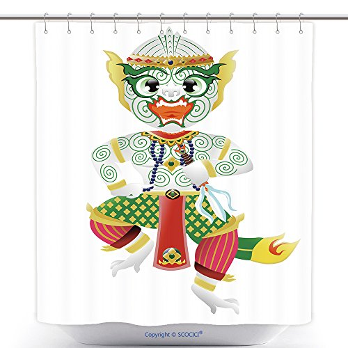 Unique Shower Curtains Hanuman Monkey In Thai Style 274012019 Polyester Bathroom Shower Curtain Set With Hooks by