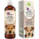 Vanilla Oatmeal Dog Shampoo with Lavender - Colloidal Oatmeal Dog Shampoo for Itchy Skin and Fleas - Natural Flea and Tick Prevention for Dogs - Shampoo for Dogs with Sensitive Skin - Odor Eliminator