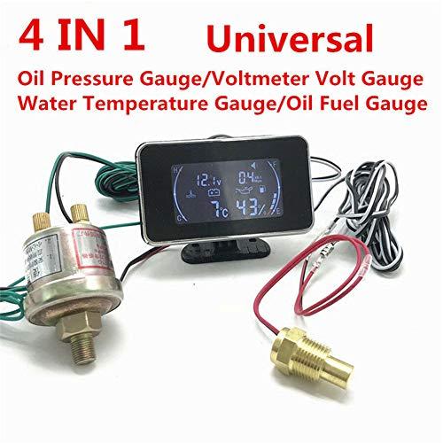 Temperature Oil Lcd Gauge - BEYST 4 in 1 Oil Pressure Gauge with LCD Digital Display Pressure Sensor Voltmeter Water Temperature Meter for Car Truck Fuel Show(Black)