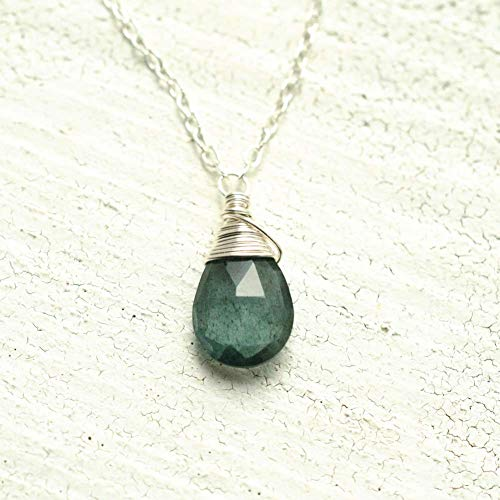 Moss aquamarine necklace sterling silver solitaire March birthstone 16 inch length ()
