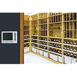 Digital Thermometer/Hygrometer for Wine Storage with 6ft Wired Temperature Probe