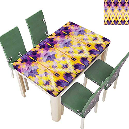 Polyesters Tablecloth Pattern Dyeing Effect The Colors Ind ian Boho Print Purple Yellow Wedding Birthday Party 54 x 102 Inch (Elastic Edge)
