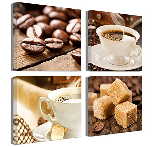 Coffee Theme Decorations - Kitchen Decorations theme Sets Coffee Decor Wall Coffee Bean Cup Pictures Canvas Prints Kitchen Art Dining Room Wall Decor Framed Wall Art for Kitchen Contemporary Coffee Art Wall Decorations 14x14