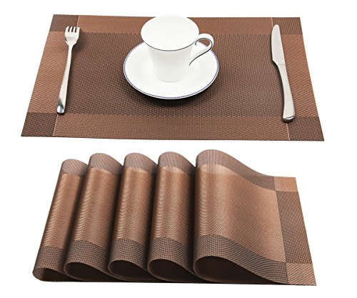 Homcomoda Vinyl Placemats Heat Resistant Dining Table Mats Non-slip Washable Place Mats, A-brown, Set of 6 (Dining Table Decorations For)