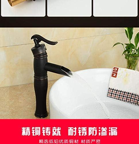 ZJN-JN 蛇口 バスルームのシンクは、ホットスロット付き浴室の洗面台のシンクホットコールドタップミキサー流域の真鍮のシンクのブラック流域の蛇口全銅ヨーロッパスタイルのバスルームをタップし、コールドミックス蛇口ホテル家庭の蛇口 台付