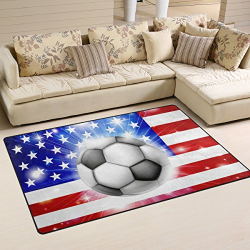 Naanle Sport Soccer Football Non Slip Area Rug for Living Di