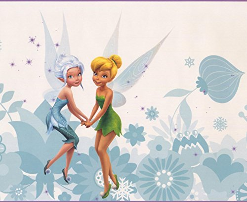 Disney Fairies Tinker Bell Fawn Iridessa Rosetta Silvermist Periwinkle Teal White Wallpaper Border for Kids Bedroom Playroom Living Room, Roll 15' x 9