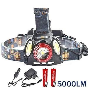 ASkyl 5000 Lumen headlamp Rechargeable Led Head Flashlight T6+2* COB LED Camping Trekking Caving Hiking Reading Running