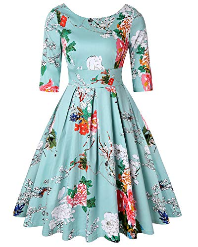 50s 60s Vintage Swing Picnic Party Casual Cocktail Dress (Floral Light Blue,Size XL) -