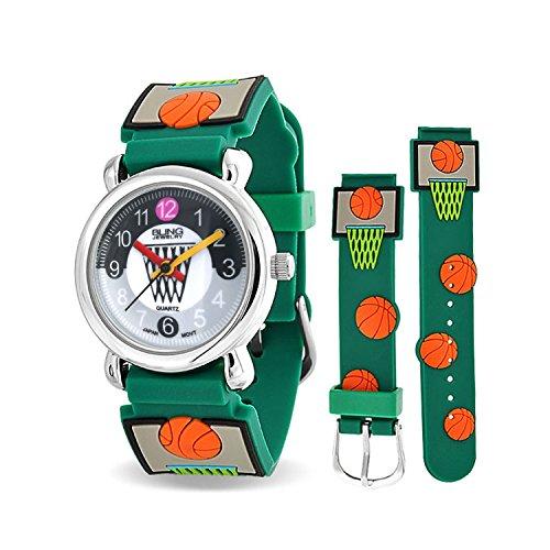 Basketball Hoop Sports Waterproof Wrist Watch Time Teacher Quartz Cartoon Green Silicone Wristband Round Two Tone Dial