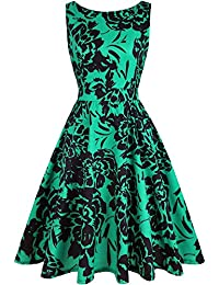 Women's Floral 1950s Vintage Swing Cocktail Party Dress with Butterfly Pattern