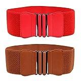 Womtop Women Waist Belts 2 PCS Elastic Stretchy Retro Wide Waist Cinch Belt Woman Belts (Camel +Red, Free)