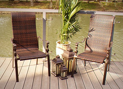 (Pebble Lane Living All Weather Rust Proof Indoor/Outdoor Premium Cast Aluminum Stacking Hand Woven Wicker Patio Dining Chairs, Brown, 27