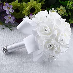 Iuhan Crystal Roses Pearl Bridesmaid Wedding Bouquet Bridal Artificial Silk Flowers (White) 109