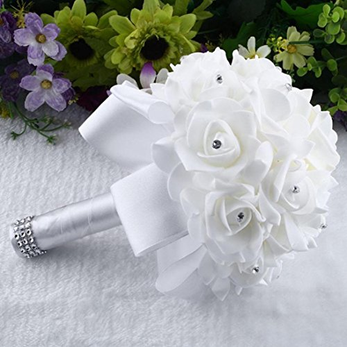 Iuhan Crystal Roses Pearl Bridesmaid Wedding Bouquet Bridal Artificial Silk Flowers (White)