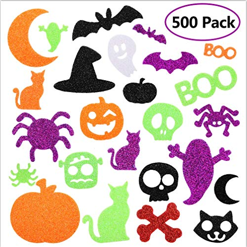 WAASII Halloween Foam Stickers Glitter Foam Stickers Halloween Self-Adhesive Craft Stickers with Pumpkin Ghost Design for Halloween Party Decorations, 500 Pieces