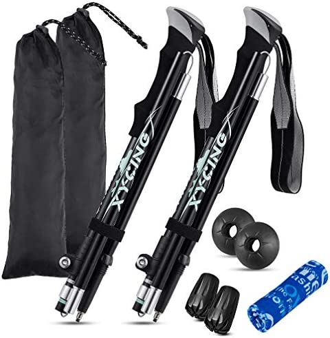 XYCING Trekking Hiking Poles – Collapsible Walking Sticks 2 Pack – Strong Lightweight Auminum Alloy 7075 Foldable Hike Pole Adjustable with Quick Flip-Lock