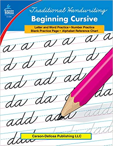 Beginning cursive workbook cover.