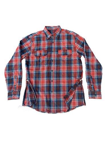 Orange/Blue Fear of God Inspired Flannel w/ Side - Bieber Down Shirt Button Justin