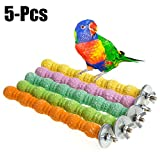 Legendog 5PCS Bird Stand Perch Parrot Cage Toy Interactive Bite-Resistant Bird Wood Perch Bird Stand Toy (M)