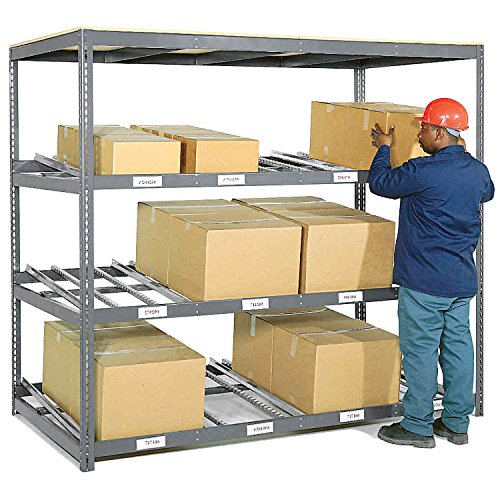 3 Level Carton Flow Shelving, Single Depth, 96W