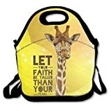 Giraffe Faith Taller Lunch Bag Tote Handbag Lunchbox Food Container Tote Cooler Warm Pouch For School Work Office
