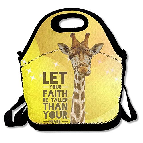 Giraffe Faith Taller Lunch Bag Tote Handbag Lunchbox Food Container Tote Cooler Warm Pouch For School Work Office by matthewwei