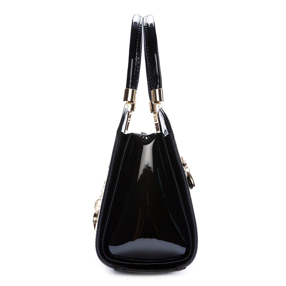 386aab11e4 Amazon.com  Women s Patent Leather Handbags Designer Totes Purses Satchels  Handbag Ladies Shoulder Bag Embossed Top Handle Bags (Black)  Shoes