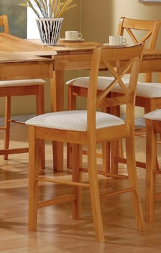 - Coaster Counter Height Dining Side Chairs/Barstools, Maple Wood Finish, Set of 2