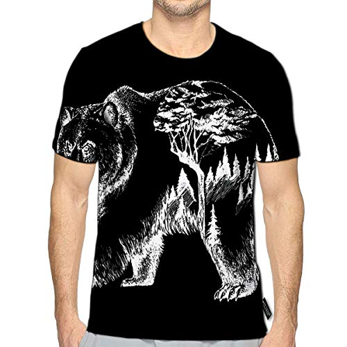 3D Printed T-Shirts Bear Double Exposure Tattoo Art Canada Mountains Compass Brown Grizzly Silhouette Short Sleeve Tops Tees d