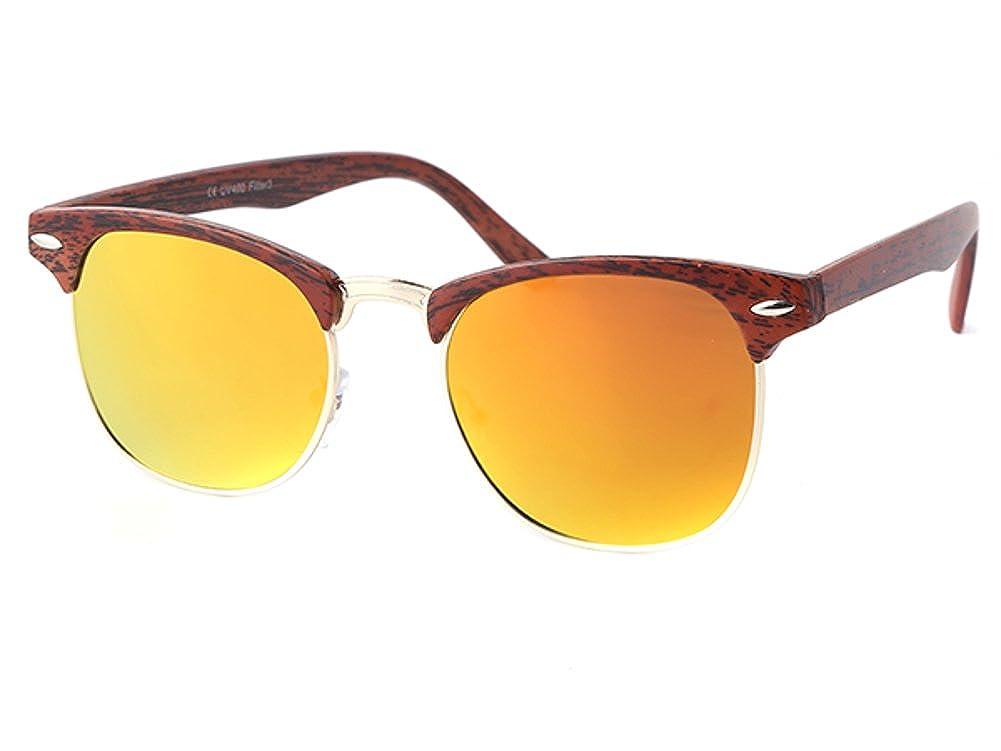Sonnenbrille Panto Holzmaserung Vintage Retro 400UV Schlüsselloch Steg