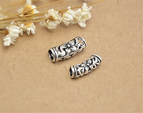 5pcs Thai Sterling Silver Flower Openwork Curved Tube Beads 925 Thai Silver Tube Spacers 2 sizes to choose (T079T) (small size) (Thai Silver Beads)