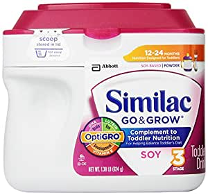 Similac Go & Grow Stage 3, Soy Based Toddler Drink with Iron, Powder, 22 Ounces (Pack of 6) (Packaging May Vary)