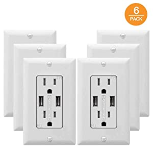 SZICT USB Outlet Receptacle, 6 Pack 3.4A USB Wall Charger Outlet High Speed Charging 15A Tamper Resistant Receptacle, UL-Listed, White