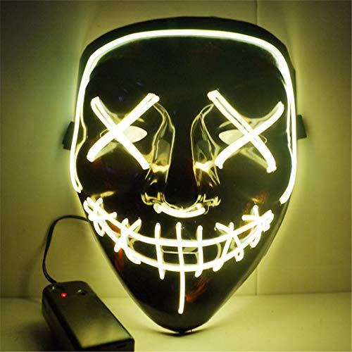 EL Light Mask Up Funny Mask from The Purge Election Year Great for Festival Cosplay Halloween Costume HL0917Y]()