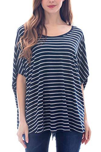(Smallshow Women's Nursing Top Modal Maternity Poncho for Breastfeeding Grey-Blue Stripe)