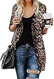 MYIFU Leopard Prints Button Down Open Front Lightweight Shirt Cardigans Sweater (Leopard, Large)